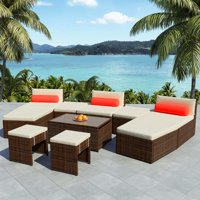 WALFRONT 10 Piece Garden Lounge Set with Cushions Poly Rattan Brown