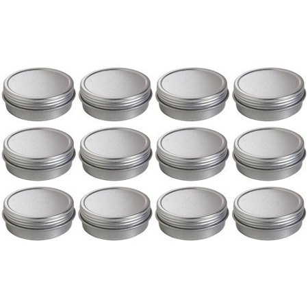 1 Box Covers (Metal Steel Tin Flat Container with Tight Sealed Twist Screwtop Cover - 1 oz (12 pack) + Labels )