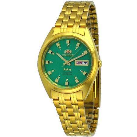 - Orient FAB00001N Men's 3 Star Standard Gold Tone Green Dial Automatic Watch