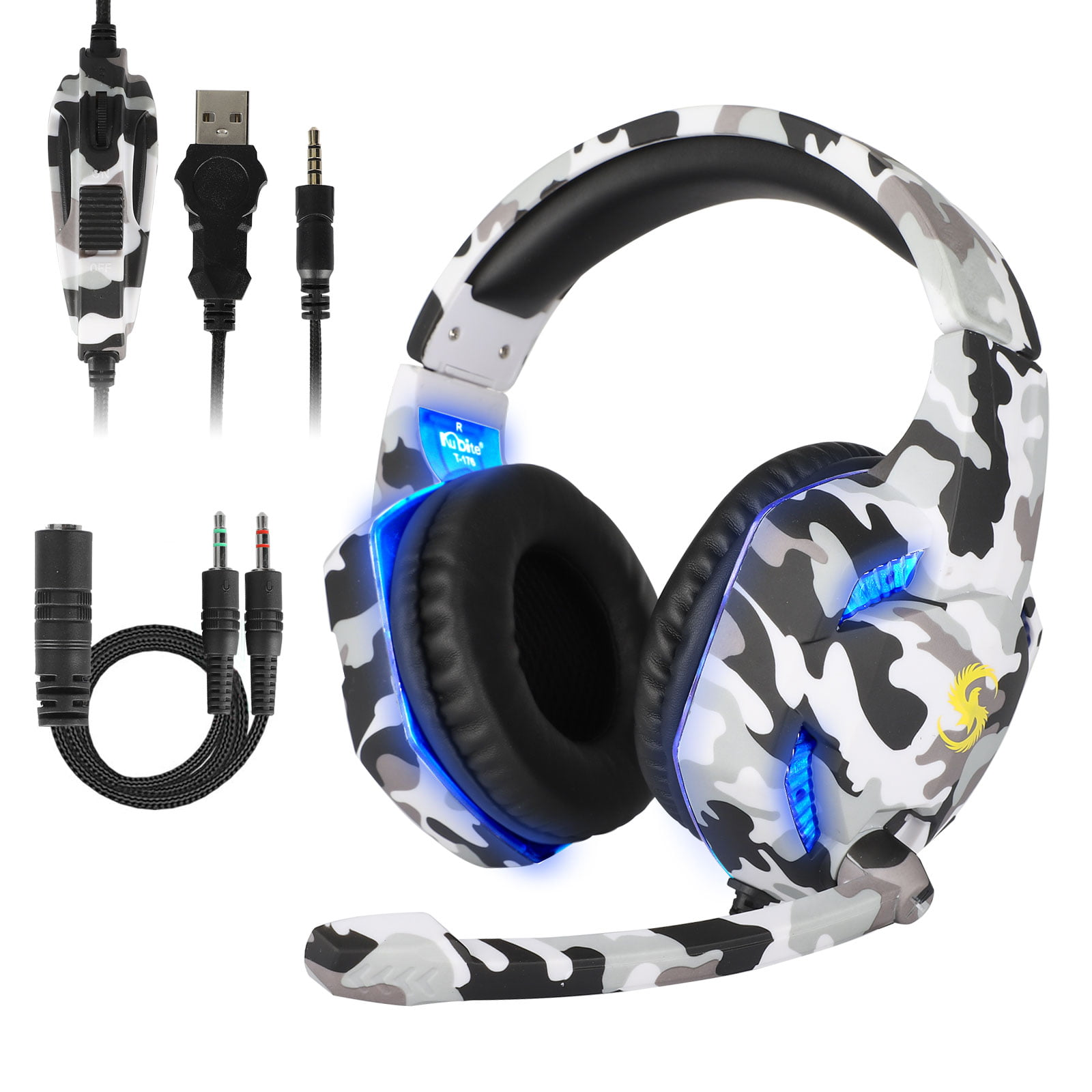 TSV PC Gaming Headset for PS4, Xbox One, Mac, Laptop, Nintendo Switch, Over-Ear Gaming Headphones with Stereo Surround Sound with Noise Canceling Mic, LED Light, Soft Memory Earmuffs, Volume Control