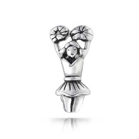 Cheerleader School Spirit Cheer Charm Bead For Women For Teen Oxidized 925 Sterling Silver Fits European Bracelet