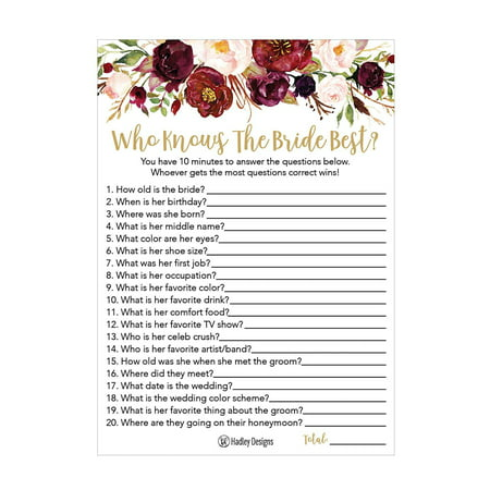 25 Cute Flowers How Well Do You Know The Bride Bridal Wedding Shower or Bachelorette Party Game Floral Who Knows The Best Does The Groom Couples Guessing Question Set of Cards Pack Printed