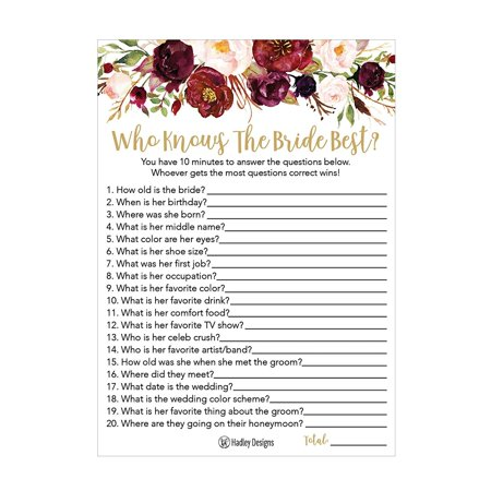 25 Cute Flowers How Well Do You Know The Bride Bridal Wedding Shower or Bachelorette Party Game Floral Who Knows The Best Does The Groom Couples Guessing Question Set of Cards Pack Printed Engagement ()