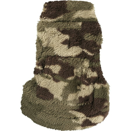 Cayre Group Mock Neck Printed Fuzzy Fleece Dog Sweater with Pocket, Camo Brown