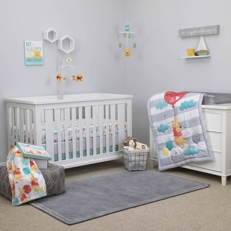 Disney Pooh Best Friends 4 Piece Crib Set - Patchwork Crib Bedding Collection
