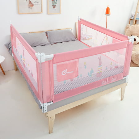 59in Pink Rail, Extra Long Vertical Lifting Safety Bedrail Assist Extra Long Mesh Guard Rails for Convertible Crib Kids Twin Toddler Double Full Size Queen & King (Convertible Crib Safety Rail)
