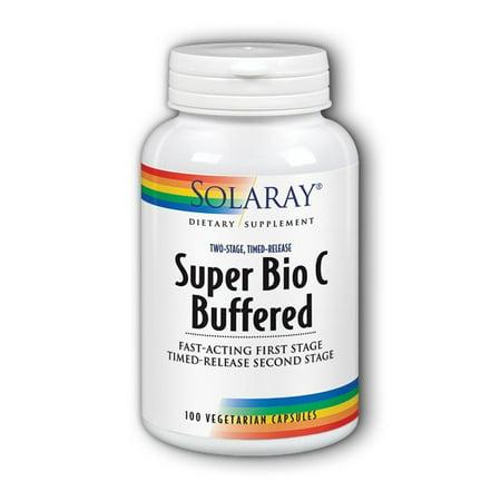 Bio Foods 30 Caps - Super Bio C - Buffered 1000 mg By Solaray - 100 Vegetable Caps Vitamin C