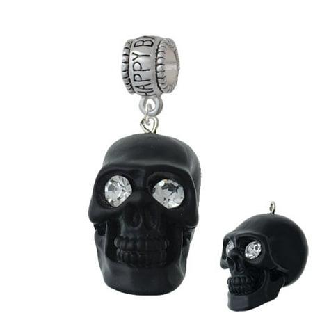 Happy Birthday Skulls (Resin Large Matte Black Skull with Crystal Eyes - Happy Birthday Charm)