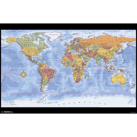 Green Zone Maps (Map - World Time Zones 18 Poster Mount)