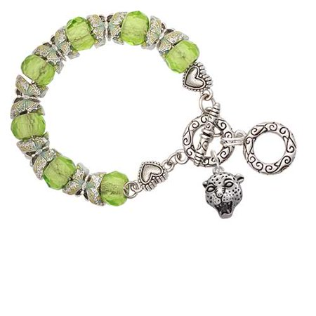Silvertone Small Jaguar - Mascot Lime Green Butterfly Bead Charm Bracelet