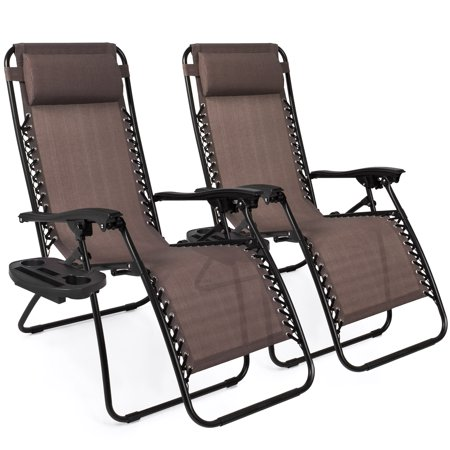 Astonishing Best Choice Products Set Of 2 Adjustable Zero Gravity Lounge Chair Recliners For Patio Pool W Cup Holders Brown Beatyapartments Chair Design Images Beatyapartmentscom