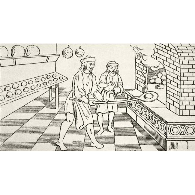 Bakers Baking Bread In Oven In The 15th Century From The National & Domestic History of England by William Aubrey Poster Print, Large - 38 x 20 - image 1 of 1
