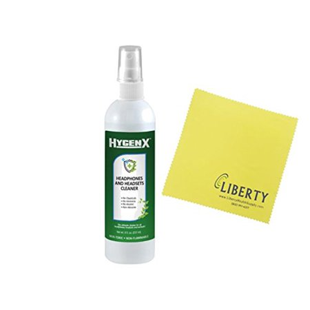HygenX Headphones and Headset Cleaner _ Spray Bottle _8 Oz._ Includes FREE Liberty Microfiber (Cleaner 8 Oz Spray Bottle)