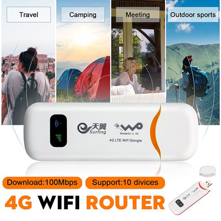 4G LTE Mobile WiFi Router Hotspot Wireless USB Dongle Mobile Broadband Modem SIM Card For Car Home Mobile Travel (Best Mobile Broadband Router)