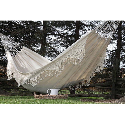 Vivere Brazilian Style Double Deluxe Hammock in Natural with Fringe