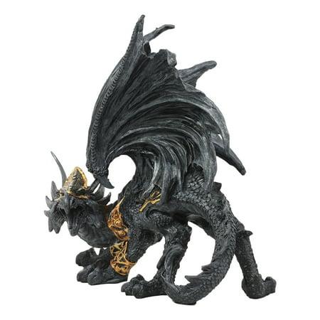 """Ebros Deimos Roaring Golden Armored Dragon Statue 8""""Long ..."""