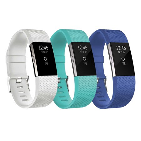 EEEKit For Fitbit Charge 2 Bands, 3-Pack Adjustable Replacement Soft Silicone Sport Strap Wristband Accessories for Fitbit Charge 2