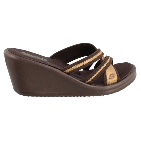 Mid Wedge (Women's Skechers, Rumblers Happy Dayz Mid wedge slides )