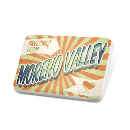 Party City Moreno Valley (Porcelein Pin Greetings from Moreno Valley, Vintage Postcard Lapel Badge –)