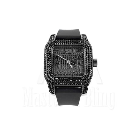 Mens Black Finish Wristwatch Techno Pave Black Rubber Band Lab Created Cubic Zirconia