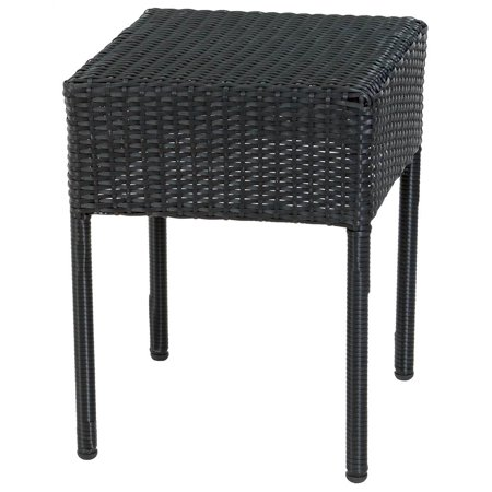 outdoor wicker accent table in black. Black Bedroom Furniture Sets. Home Design Ideas