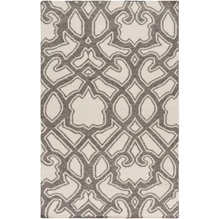 2' x 3' Transcendent Composition Charcoal Gray and Ivory Hand Woven Reversible Wool Area Throw Rug