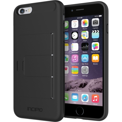 Incipio IPH-1201-BLK Incipio Stowaway [Advance] Credit Card Case with Integrated Stand for iPhone 6 Plus - iPhone - Black - Plextonium, Polycarbonate, Flex2O, Polymer