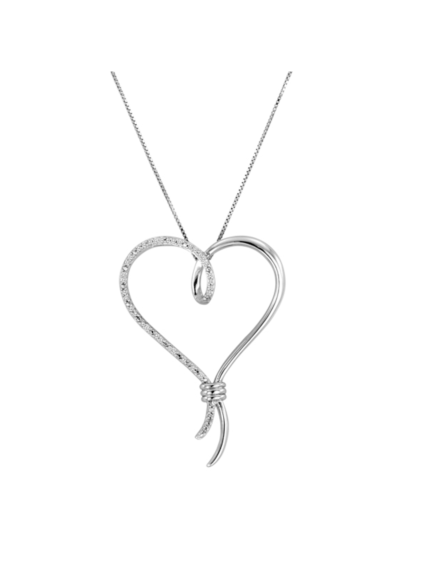 Sterling Silver 1/10 Carat T.W. Diamond Over-Sized Heart Pendant, 18