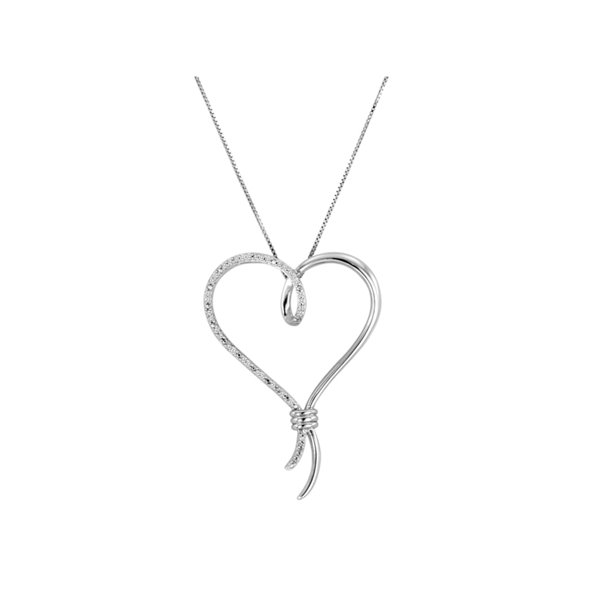 Brilliance Fine Jewelry Sterling Silver 1/10 Carat T.W. Diamond Over-Sized Heart Pendant, 18
