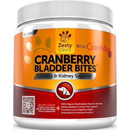 Zesty Paws Cranberry Bladder Bites Urinary Tract Support Chews for Dogs, 90 Soft (Dom Support)