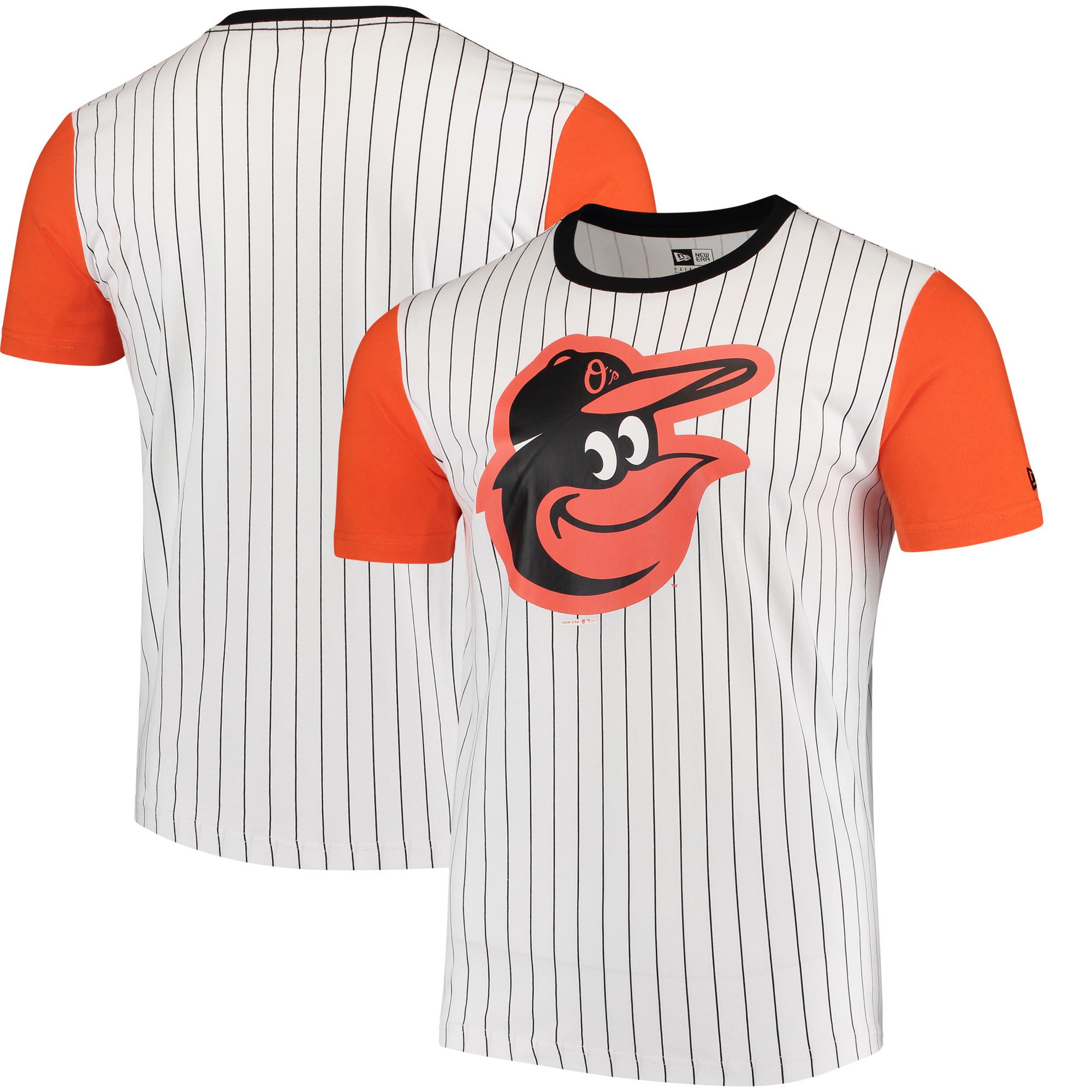 Baltimore Orioles New Era Pinstripe Baseball T-Shirt - White/Orange