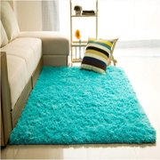48x32 inch Modern Soft Fluffy Floor Rug Anti-skid Shag Shaggy Area Rug Bedroom Dining Room Carpet Yoga Mat Child Play Mat Washable Home Decor, Blue