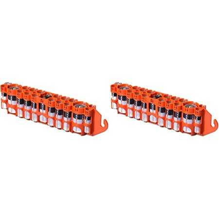 2 X Powerpax Slim Line  Pbc  Battery Caddy  Orange   Each Holds 12  Aa  4  Aaa  2  C  1  9V  Batteries