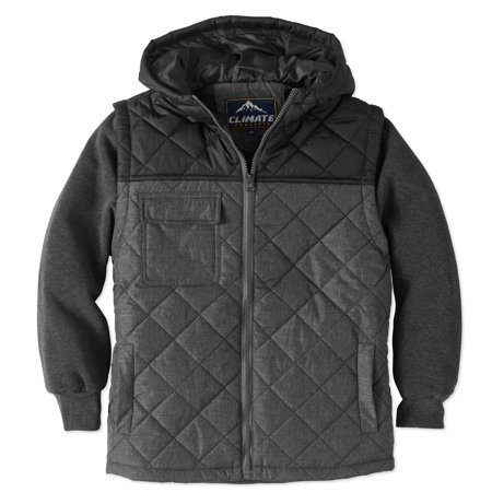 Climate Concepts Boys' Lightweight Quilted Jacket W/Fleece Sleeve and Hood - Boy Leather Jacket