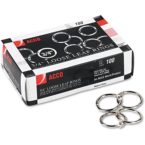 "ACCO Metal Book Rings, 3/4"" Diameter, 100 Rings/Box"