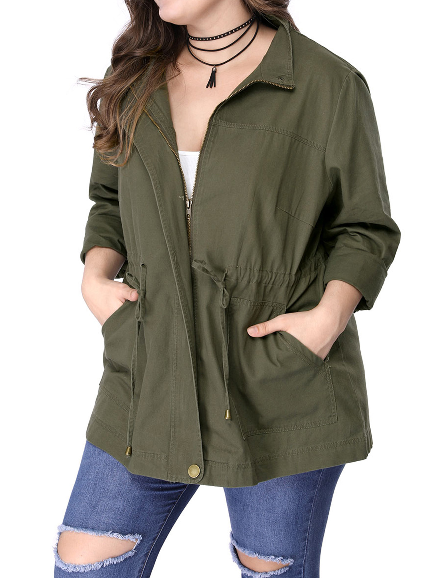 Women Plus Size Open Front Jacket With Button Pocket Long Sleeve Coat Army Green