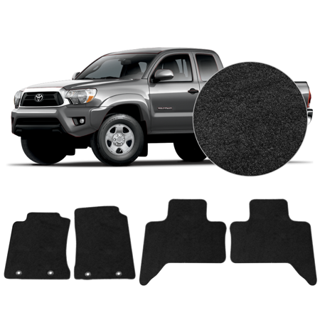 Truck Standard Cab Carpet - Fits 2011-2014 Toyota Tacoma Xtra Cab Black Nylon Floor Mats Carpet 4 Pieces Set