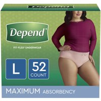 Depend Fit-Flex Incontinence Underwear for Women, Maximum Absorbency, Large, Light Pink, 52 Count (2 Packs of 26)