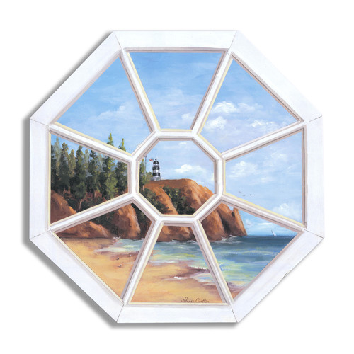Stupell Industries Octagon Lighthouse' Faux Window Scene Original Painting Plaque