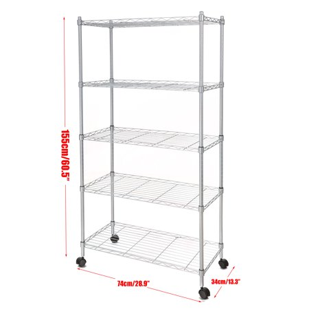 14 x 29 x 61inch classic 5 tier wire shelving rack shelves with wheels - Wire Shelving Units