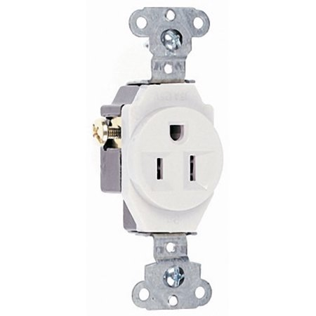 Pass and Seymour 5251-W White Spec Grade Single Receptacle Outlet 15A 125V