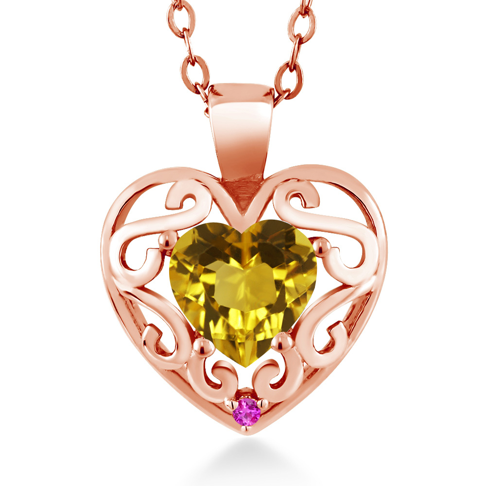 0.73 Ct Heart Shape Yellow Citrine Pink Sapphire 18K Rose Gold Pendant by