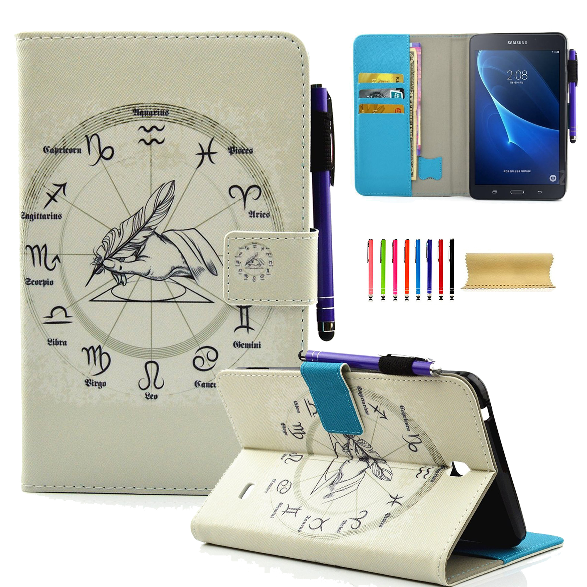 """Galaxy Tab 4 7.0"""" Case, Goodest Smart PU Leather Folio Stand Cover with Auto Wake/Sleep Wallet Case for Samsung Galaxy Tab 4 7.0-inch SM-T230/ T231/ T235 Tablet, 12 Constellations"""