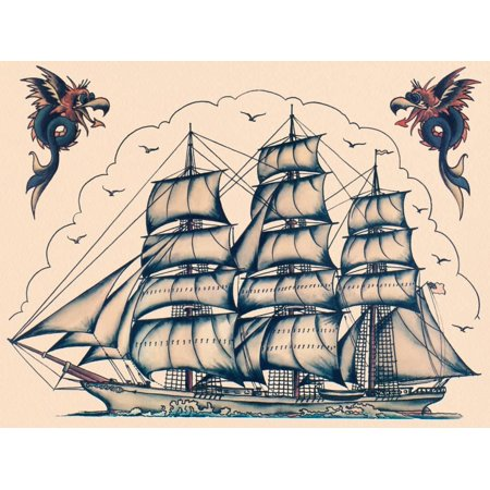 Three Masted Ship & Sea Dragons, Vintage Tattoo Flash by Norman Collins, aka, Sailor Jerry Print Wall Art By Piddix ()