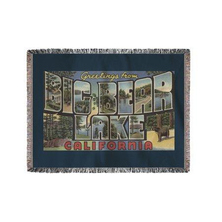 Big Bear Lake, California - Large Letter Scenes (60x80 Woven Chenille Yarn Blanket) (Big Toy Store Scene)