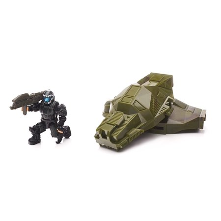 Spartans Laser (Halo Drop Pod Metallic Jungle ODST Toy Figure, UNSC Jungle ODST with detachable green metallic armor and Spartan Laser weapon accessory By Mega Bloks Ship from)