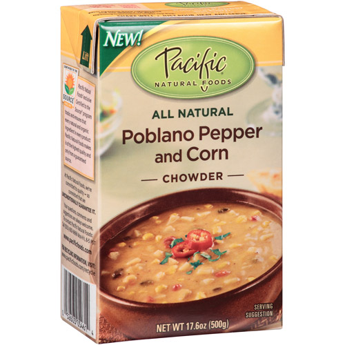Pacific Natural Foods Poblano Pepper and Corn Chowder, 17.6 oz, (Pack of 12)