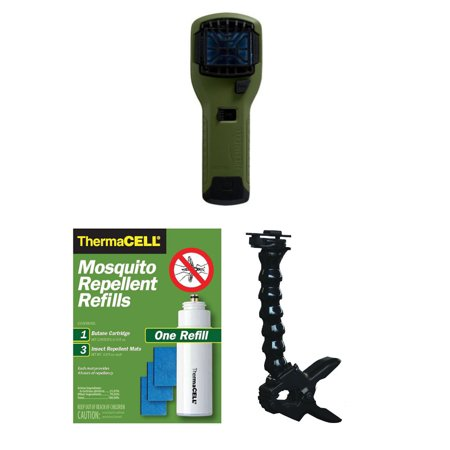 ThermaCELL Multipurpose Clamp w Portable Repeller (Olive) & R1 Refill Pack ThermaCell Portable Mosquito Repeller (Olive)The ThermaCell Portable Mosquito Repeller effectively repels mosquitoes by creating a 15-foot protection zone. The MR300 Repeller can be taken virtually anywhere outdoors to repel pesky mosquitoes, stopping them before they can bite or bother you. The MR300 is ThermaCells portable mosquito repeller, boasting features such as quiet ignition, reengineered grill and switch, and improved ergonomics. The repeller is lightweight and travel friendly and leaves a spray-less and no mess zone. Furthermore, the repeller contains no open flame, no smokey candle plus no direct contact with skin. Conveniently, the spray is Scent-free and DEET-free. The repeller contains one cartridge and three 4-hour mats to provide 12 full hours of protection. The MR300 Portable Repeller has a conveniently cordless, lightweight, minimalist design for use anywhere and everywhere keeping those mosquitoes far away.ThermaCell Multipurpose Clamp for Mosquito RepellerThe ThermaCell Mosquito Repeller Clamp will make any outdoor event a more relaxing and enjoyable experience. Designed to hold your ThermaCell Mosquito Repeller, the ThermaCell Multipurpose Clamp attaches almost anywherepoles, bars, chairs, tables, fences, stands, tripods, and countless other places you want to end swatting and smacking. The long neck ensures this ThermaCell mosquito repellent accessory can remain in the horizontal position for optimal performance. Simply squeeze the handle for quick and easy mounting and removal without screws or bolts.ThermaCell R1 Electronic Mosquito Repellent RefillOriginal ThermaCell Mosquito Repellent Refills effectively repel mosquitoes by creating a scent-free 15-foot zone of protection when used in fuel-powered ThermaCell Repellers. Each repellent mat lasts up to 4 hours and each fuel cartridge lasts up to 12 hours. The active ingredient is Allethrin, a synthetic version of a nat