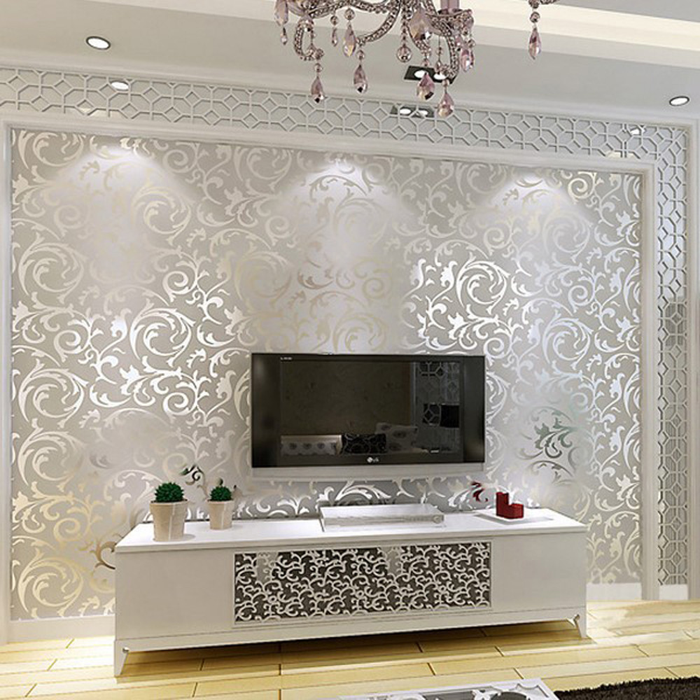 1x 10M Luxury Silver 3D Damask Embossed ...