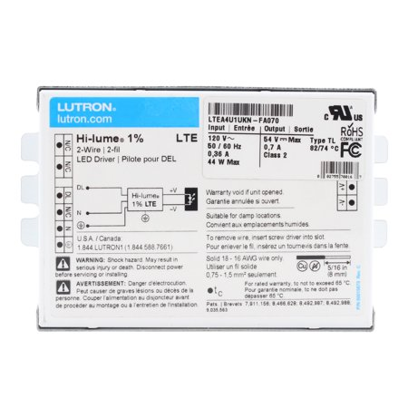 Lutron LTEA4U1KN-FA70 Dimming LED Driver, Hi-Lume 1% Dimming, 2-Wire, 54-Vdc, 44W, (Lutron Dimming Ballasts)